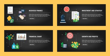 Set of internet banner design templates for web sites, internet marketing, and business. Business finance, investment and strategy, financial chart, growth and profits. Flat design vector.