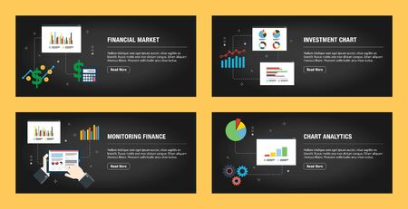 Set of internet banner design templates for web sites, internet marketing, and business. Financial market, investment chart, monitoring finance, and chart analytics. Flat design vector. 일러스트
