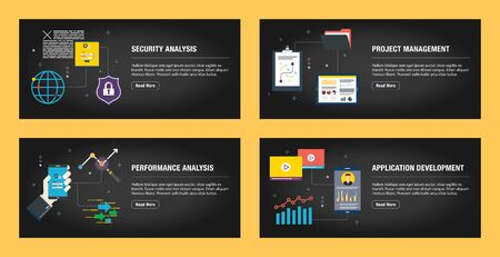 Set of internet banner design templates for web sites, internet marketing, and business. Security analysis, project management, performance analysis, and application development. Flat design vector. 일러스트