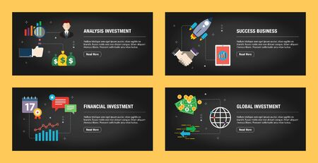 Set of internet banner design templates for web sites, internet marketing, and business. Analysis investment, success business, financial investment, global investment. Flat design vector. 일러스트