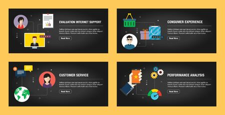 Set of internet banner design templates for web sites, internet marketing, and business. Evaluation internet support, consumer experience, customer service, and performance analysis.Flat design vector 일러스트