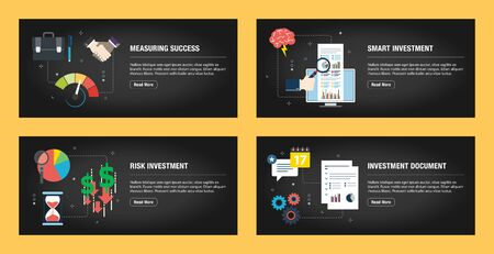 Set of internet banner design templates for web sites, internet marketing, and business. Measuring success, smart investment, risk investment, and investment document. Flat design vector.