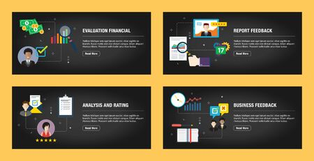 Set of internet banner design templates for web sites, internet marketing, and business. Evaluation financial, report feedback, analysis and rating, business feedback. Flat design vector. 일러스트