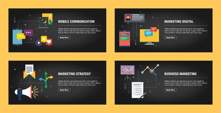 Set of internet banner design templates for web sites, internet marketing, and business. Mobile communication, marketing digital, marketing strategy and business marketing. Flat design vector.