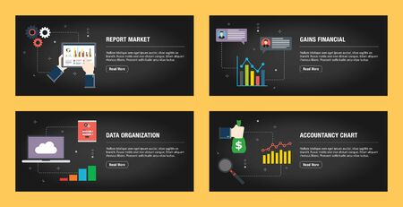 Set of internet banner design templates for web sites, internet marketing, and business. Report market gains financial, data organization and accountancy chart. Flat design vector. 일러스트