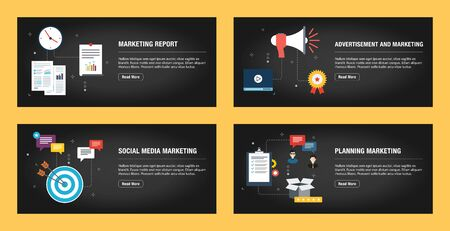 Set of internet banner design templates for web sites, internet marketing, and business. Marketing report, advertisement and marketing, social media marketing, planning marketing. Flat design vector.
