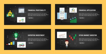Set of internet banner design templates for web sites, internet marketing, and business. Financial profitability, financial application, expertise investment and stock market investor. Flat design vec