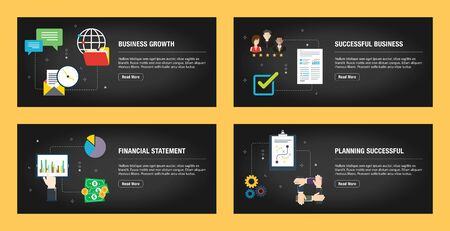 Set of internet banner design templates for web sites, internet marketing, and business. Business growth, successful business, financial statement and planning successful. Flat design vector.