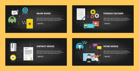 Set of internet banner design templates for web sites, internet marketing, and business. Internet review, feedback customer, contract service and rating service.Flat design vector.
