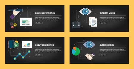 Set of internet banner design templates for web sites, internet marketing, and business. Business prediction, business vision, growth prediction, and success vision. Flat design vector. Stockfoto - 142071054