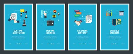Vector set of vertical web banners with contract negotitation, meeting business,  signature contract, earnings calendar. Vector banner template for website and mobile app development with icon set. Stockfoto - 142071094