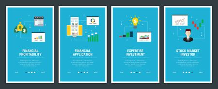 Web banners concept in vector with financial profitability, financial application, expertise investment and stock market investor. Internet website banner concept with icon set. Flat design vector illustration.