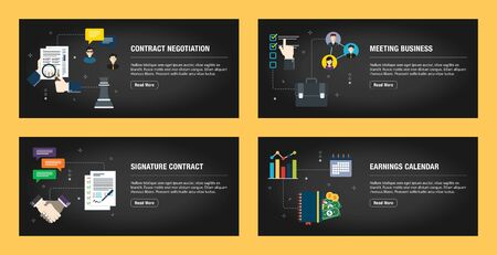 Set of internet banner design templates for web sites, internet marketing, and business.Contract negotiation, meeting business,  signature contract, earnings calendar. Flat design vector. Stockfoto - 142071102
