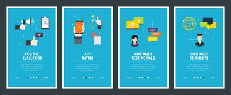 Vector set of vertical web banners with positive evaluation, app rating, customer testimonials and customer comments. Vector banner template for website and mobile app development with icon set.