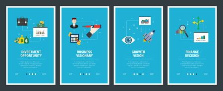 Vector set of vertical web banners with investment opportunity, business visionary, growth vision  and finance decision. Vector banner template for website and mobile app development with icon set. Stockfoto - 142071160