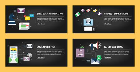 Set of internet banner design templates for web sites, internet marketing, and business. Communication, strategy email sending, newsletter, and safety send email. Flat design vector.