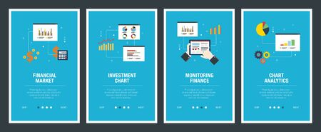 Web banners concept in vector with financial market, investment chart, monitoring finance and chart analytics. Internet website banner concept with icon set. Flat design vector illustration. Ilustração