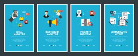 Web banners concept in vector with social marketing, relationship marketing, proximity marketing and communication metrics. Internet website banner concept with icon set. Flat design vector illustration.