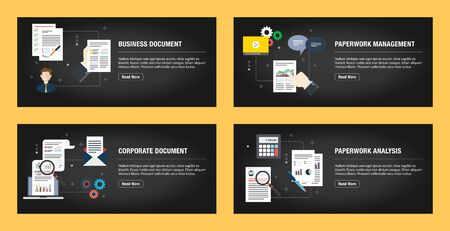 Set of internet banner design templates for web sites, internet marketing, and business. Business document, paperwork management, corporate document, paperwork analysis. Flat design vector.