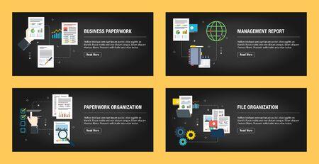 Set of internet banner design templates for web sites, internet marketing, and business. Business paperwork, management report, paperwork organization, file organization.Flat design vector. Stockfoto - 142071310