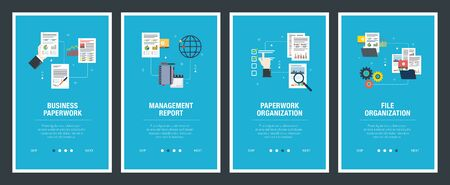 Vector set of vertical web banners with business paperwork, management report, paperwork organization, file organization. Vector banner template for website and mobile app development with icon set. Stockfoto - 142071414
