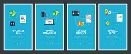 Web banners concept in vector with investment data, financial management, contract signature and financial report. Internet website banner concept with icon set. Flat design vector illustration. Stockfoto - 142071431