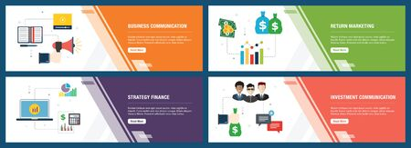 Banner set with icons for internet on websites or app templates with business communication, return marketing, strategy finance and investment communication. Modern flat style design. Ilustração