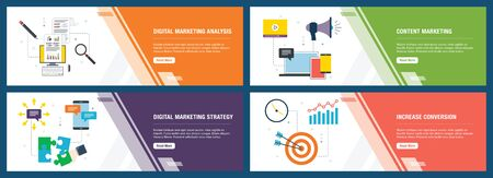 Web banners concept in vector with digital marketing analysis, content marketing, strategy and increase conversion. Internet website banner concept with icon set. Flat design vector illustration.