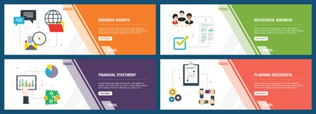 Web banners concept in vector with business growth, successful business, financial statement and planning successful.  Internet website banner concept with icon set. Flat design vector illustration. Vettoriali