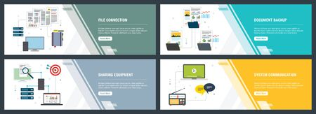 Vector set of vertical web banners with file connection, document backup, sharing equipment and system communication. Vector banner template for website and mobile app development with icon set.