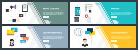 Vector set of vertical web banners with positive evaluation, app rating, customer testimonials and customer comments. Vector banner template for website and mobile app development with icon set. Illusztráció
