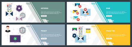 Vector set of vertical web banners with antivirus for protection,  blocking spam, protect of privacy, virus and phishing. Vector banner template for website and mobile app development with icon set.