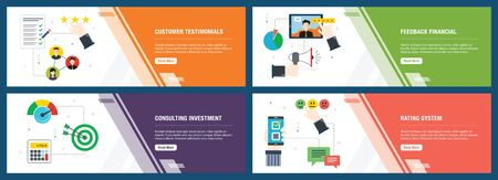 Web banners concept in vector with customer testimonials, feedback financial, consulting investment and rating system. Internet website banner concept with icon set. Flat design vector illustration.