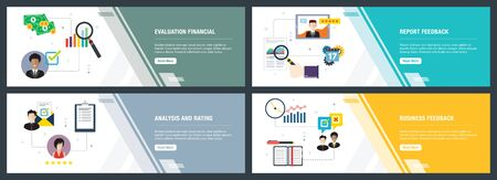 Web banners concept in vector with evaluation financial, report feedback, analysis and rating, business feedback. Internet website banner concept with icon set. Flat design vector illustration.