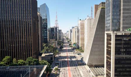 Aerial view of Avenida Paulista (Paulista avenue) in Sao Paulo city, Brazil.