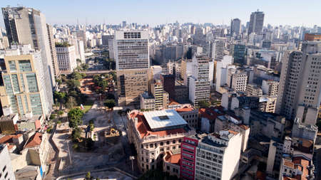 Aerial view of buildings near to the Vale do Anhangabau in Sao Paulo city, Brazil.