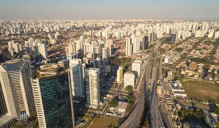 Aerial view of Jornalista Roberto Marinho avenue, near Estaiada bridge, in Sao Paulo city, Brazil.