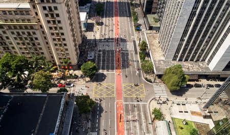 Top view of Avenida Paulista in Sao Paulo city on sunny weekend.