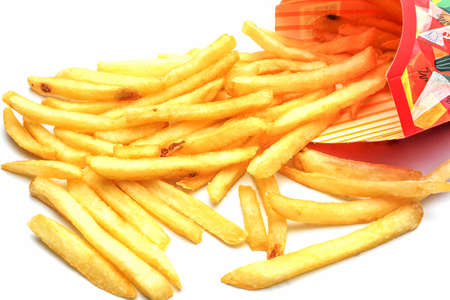 An isolated French fries on white background photo