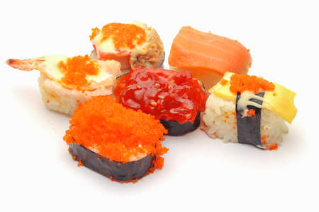 An isolated sushi on white background photo