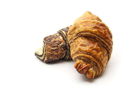 An isolated chocolate croissant on white background photo