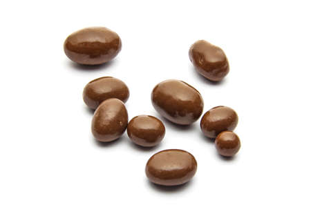 Chocolate almonds isolated on white background photo