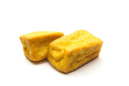 Fried tofu on white background