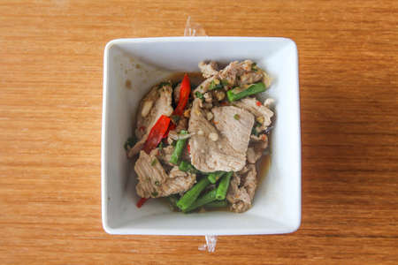 Stir-fried pork and basil photo