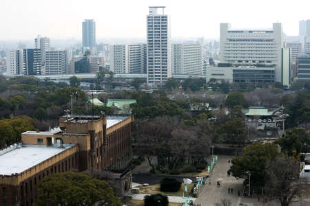 febuary: OSAKA, JAPAN - FEBUARY 8 2015: A view from Osaka Castle in Japan on FEBUARY 8 2015. Osaka Castle was first built in 1583 Editorial