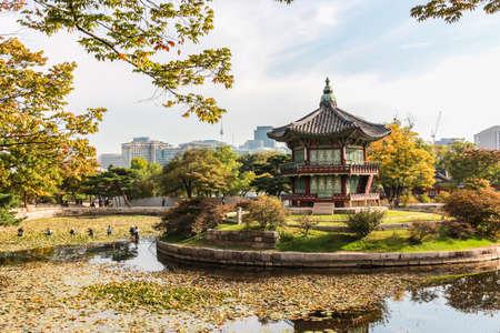 pavillion: Emperor palace at Seoul. South Korea. Lake. Mountain. Editorial