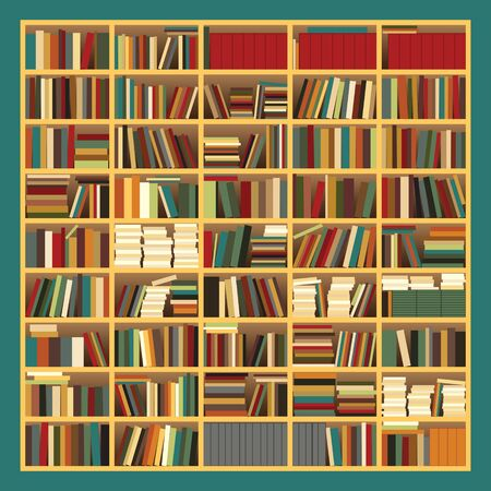 Illustration of a big bookshelf with Pastel Colored Books
