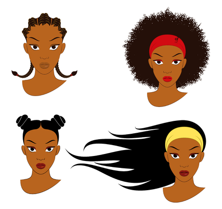 Vector Illustration Of Four Different Hair Styles For Young Girls