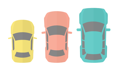 Flat Design Vector Illustration Of Three Different Model Autos Illustration