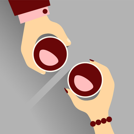 Vector Illustration Of Hands Of A Woman And A Man Out For A Date, Enjoying Their Wines. Illustration